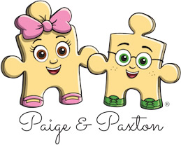 Cartoon puzzle pieces (Paige and Paxton)